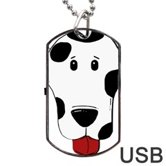 Dalmation cartoon head Dog Tag USB Flash (One Side)