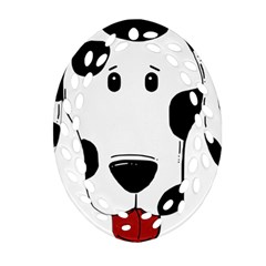 Dalmation cartoon head Ornament (Oval Filigree)