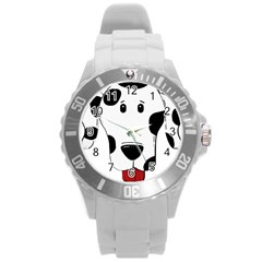Dalmation cartoon head Round Plastic Sport Watch (L)