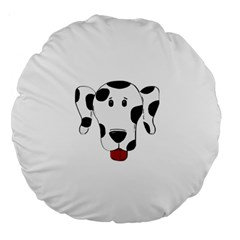 Dalmation cartoon head Large 18  Premium Round Cushions