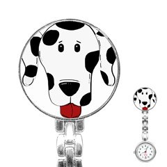 Dalmation cartoon head Stainless Steel Nurses Watch