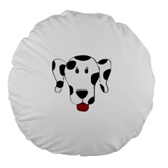 Dalmation cartoon head Large 18  Premium Flano Round Cushions