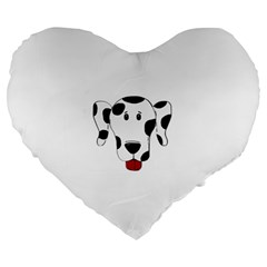 Dalmation cartoon head Large 19  Premium Flano Heart Shape Cushions