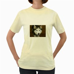 Siberian Husky Blue Eyed Women s Yellow T-Shirt