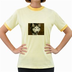 Siberian Husky Blue Eyed Women s Fitted Ringer T-Shirts