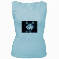 Siberian Husky Blue Eyed Women s Baby Blue Tank Top