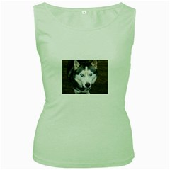 Siberian Husky Blue Eyed Women s Green Tank Top