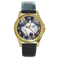 Siberian Husky Blue Eyed Round Gold Metal Watch