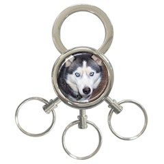 Siberian Husky Blue Eyed 3-Ring Key Chains