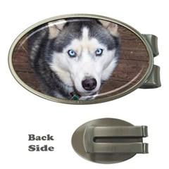 Siberian Husky Blue Eyed Money Clips (Oval)