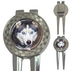 Siberian Husky Blue Eyed 3-in-1 Golf Divots