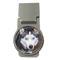 Siberian Husky Blue Eyed Money Clips (Round)