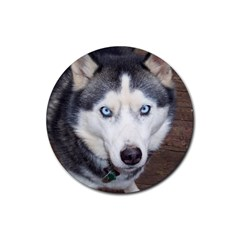 Siberian Husky Blue Eyed Rubber Round Coaster (4 pack)
