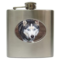 Siberian Husky Blue Eyed Hip Flask (6 oz)