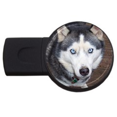 Siberian Husky Blue Eyed USB Flash Drive Round (1 GB)