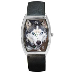 Siberian Husky Blue Eyed Barrel Style Metal Watch