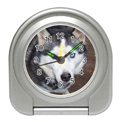 Siberian Husky Blue Eyed Travel Alarm Clocks