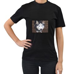 Siberian Husky Blue Eyed Women s T-Shirt (Black) (Two Sided)