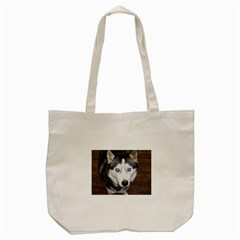 Siberian Husky Blue Eyed Tote Bag (Cream)