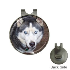 Siberian Husky Blue Eyed Hat Clips with Golf Markers