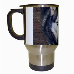 Siberian Husky Blue Eyed Travel Mugs (White)
