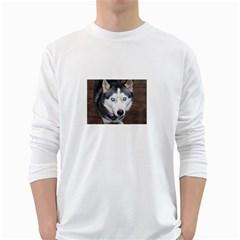 Siberian Husky Blue Eyed White Long Sleeve T-Shirts