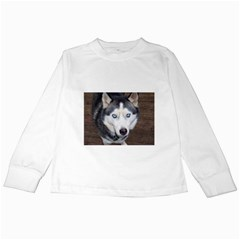 Siberian Husky Blue Eyed Kids Long Sleeve T-Shirts