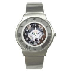 Siberian Husky Blue Eyed Stainless Steel Watch