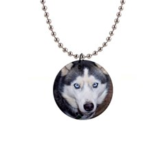 Siberian Husky Blue Eyed Button Necklaces