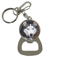 Siberian Husky Blue Eyed Bottle Opener Key Chains