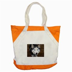 Siberian Husky Blue Eyed Accent Tote Bag