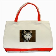Siberian Husky Blue Eyed Classic Tote Bag (Red)