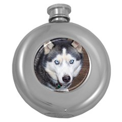 Siberian Husky Blue Eyed Round Hip Flask (5 oz)