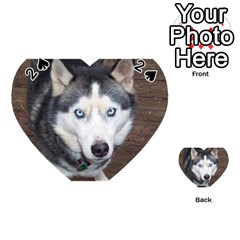 Siberian Husky Blue Eyed Playing Cards 54 (Heart)