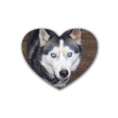 Siberian Husky Blue Eyed Rubber Coaster (Heart)