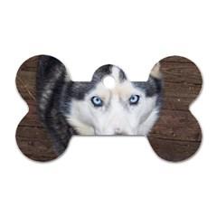 Siberian Husky Blue Eyed Dog Tag Bone (Two Sides)