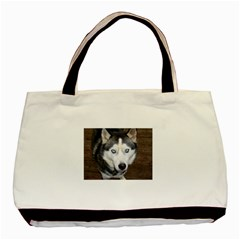 Siberian Husky Blue Eyed Basic Tote Bag (Two Sides)