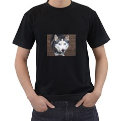 Siberian Husky Blue Eyed Men s T-Shirt (Black)