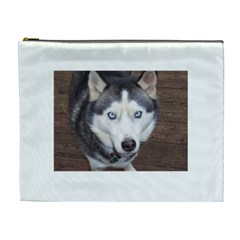 Siberian Husky Blue Eyed Cosmetic Bag (XL)