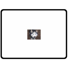 Siberian Husky Blue Eyed Fleece Blanket (Large)