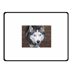 Siberian Husky Blue Eyed Fleece Blanket (Small)