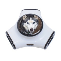 Siberian Husky Blue Eyed 3-Port USB Hub