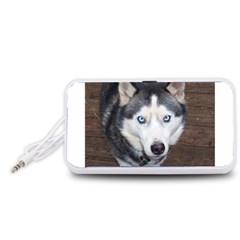Siberian Husky Blue Eyed Portable Speaker (White)