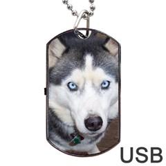 Siberian Husky Blue Eyed Dog Tag USB Flash (One Side)