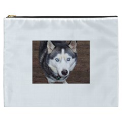 Siberian Husky Blue Eyed Cosmetic Bag (XXXL)