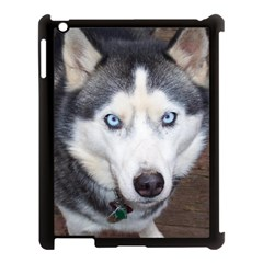Siberian Husky Blue Eyed Apple iPad 3/4 Case (Black)