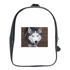 Siberian Husky Blue Eyed School Bags (XL)