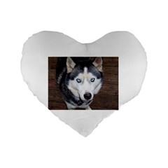 Siberian Husky Blue Eyed Standard 16  Premium Heart Shape Cushions