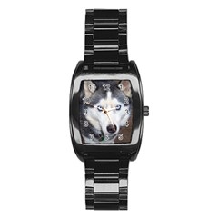Siberian Husky Blue Eyed Stainless Steel Barrel Watch