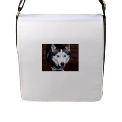 Siberian Husky Blue Eyed Flap Messenger Bag (L)